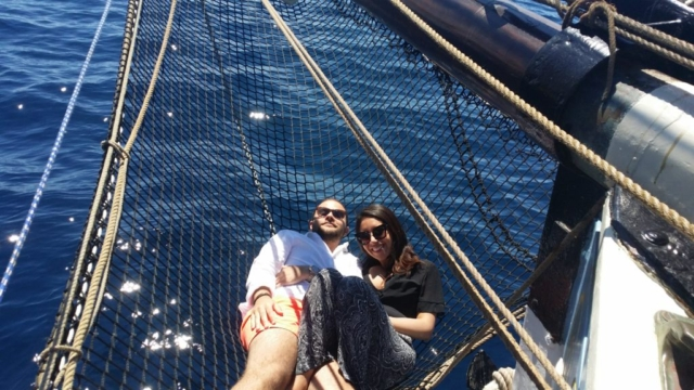 In the Bowsprit net, a unique place to be.