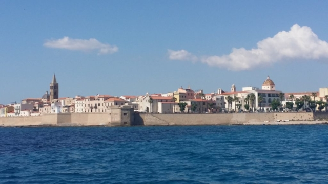 Alghero old town wall fortifications.
