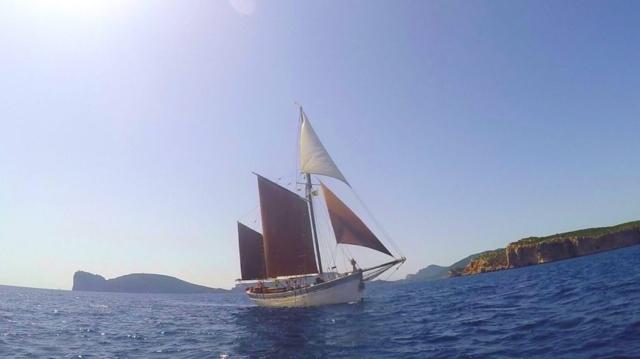 Andrea Jensen Sailing with Mizzen, Main, Jib and Jib Topsails