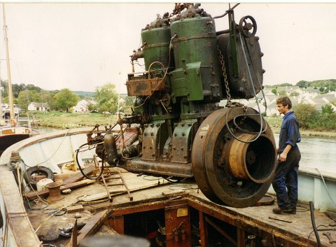 Twin Cylinder Hundersted engine being removed.