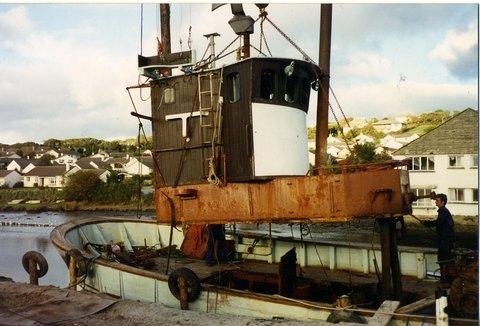 Removal of Andrea's old fishing boat wheelhouse