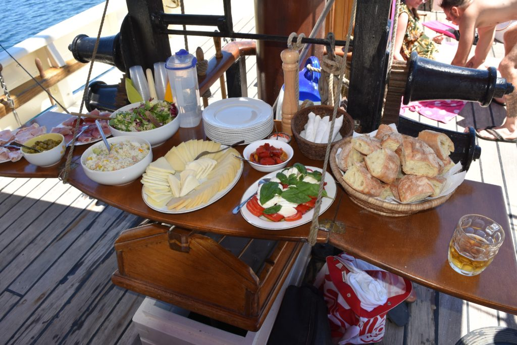 Typical lunch on board Andrea Jensen, local wines and beer inclusive